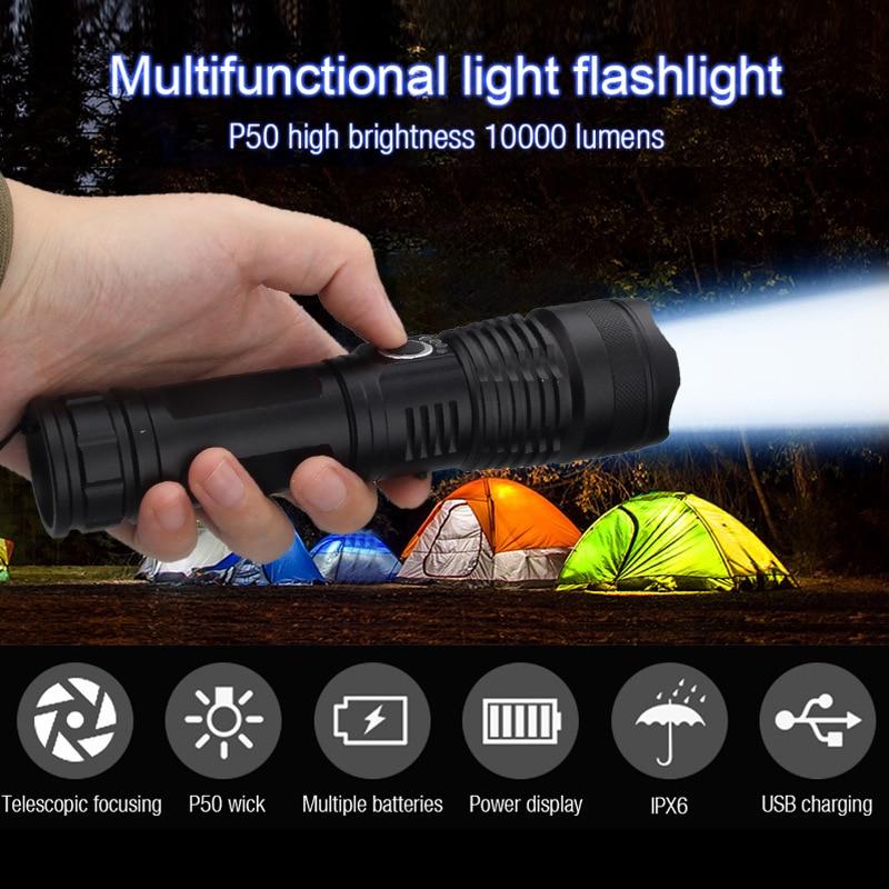 Xhp50 usb recarregável lanternas 100000 lumens tático poderoso tochas lâmpada sofirn luz 26650 bateria flash luz de acampamento