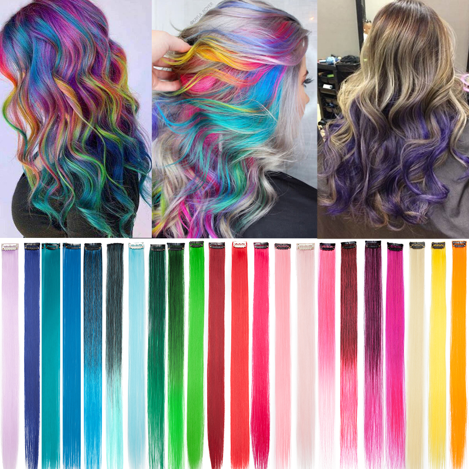 SNOILITE 20 ''uzun düz sentetik klip tek parça saç uzatma 20 inç pembe mavi mor kırmızı saf renk sahte Hairpieces