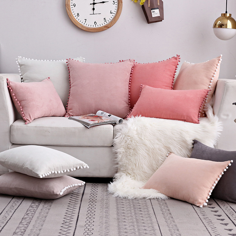 New Arrival Pompon Ball Lace Cushion Cover Pompomes 35x50cm Trim Pillow Case Sofa Cushion Cover 50x50cm Decorative Pillow Case