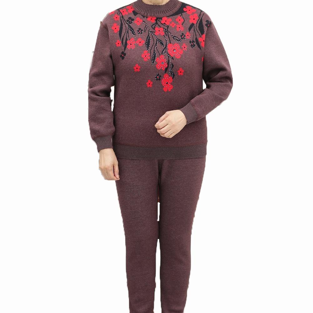 Women Slim Thermal Underwear Sets Women Coffee Light Purple Grey Flower Sequined Thicken Fleece Warm Intimates Suit Winter 2019