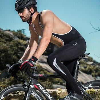 Santic-Pantalones con tirantes de ciclismo para hombre, pantalones largos con acolchado 4D,...
