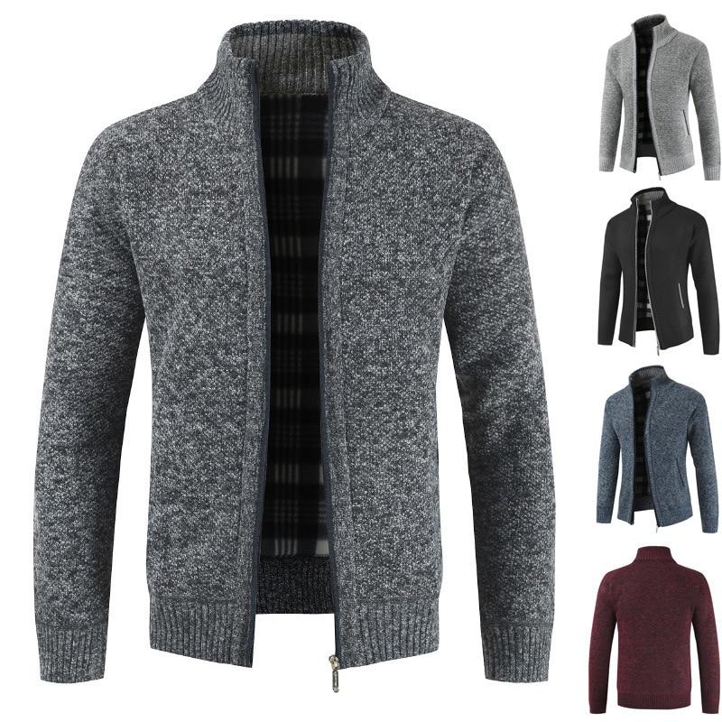 H9b20a37c359544cc9087fcd19599d85bT NEGIZBER 2019 Autumn Winter New Men's Jacket Slim Fit Stand Collar Zipper Jacket Men Solid Cotton Thick Warm Jacket Men