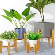 Vase à quatre pattes en bois Pot de fleur support de glissement salon couloir jardin support en Pot placé Rack de stockage facile à installer(China)