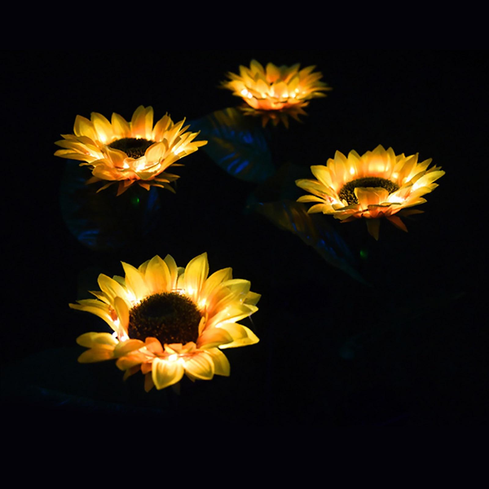 Luzes de girassol solares para área externa,