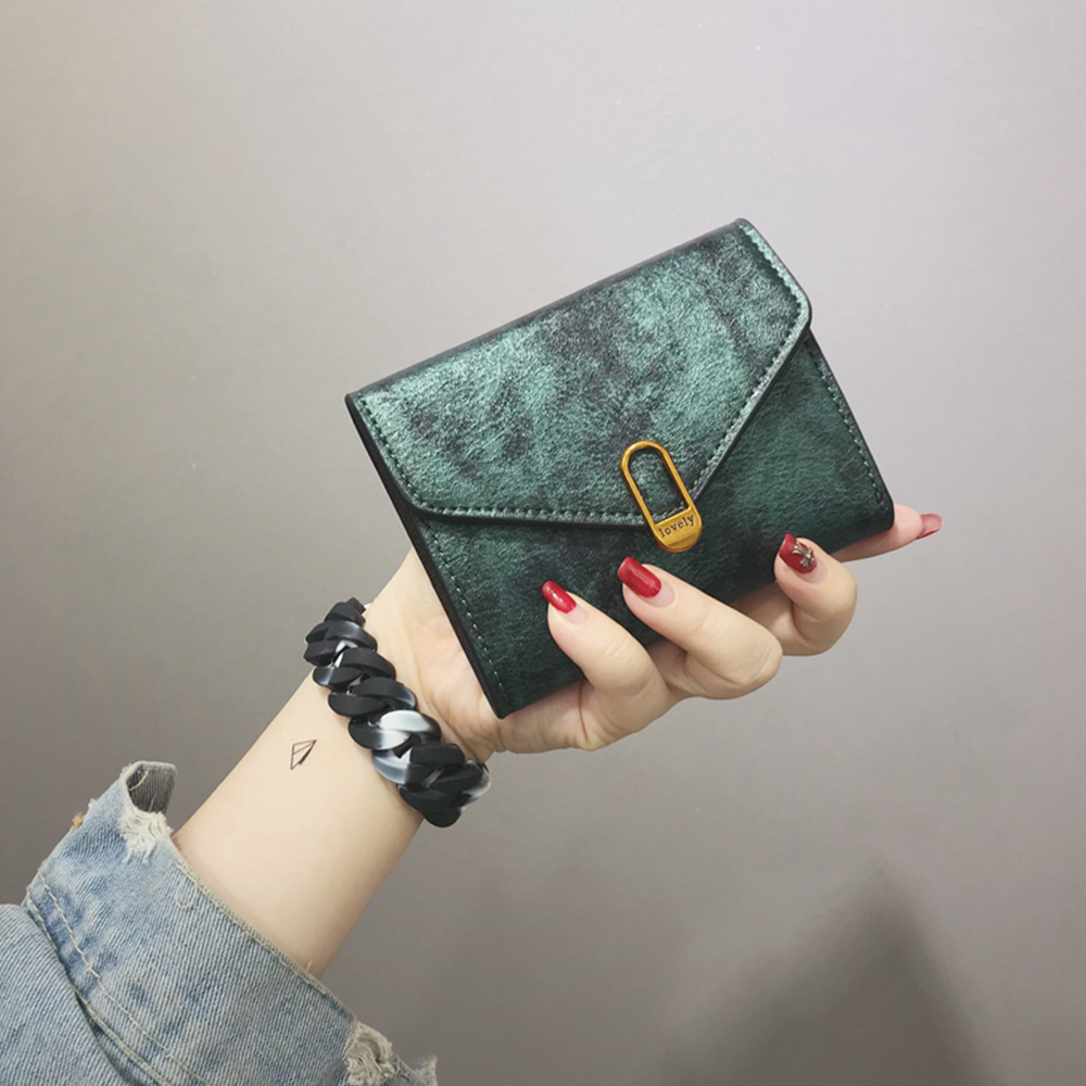 Vintage Women Wallets Hasp Mini Wallet High Quality Soft Purse Leather Tri-fold Simple Short Womens Purses Small Coin Pockets