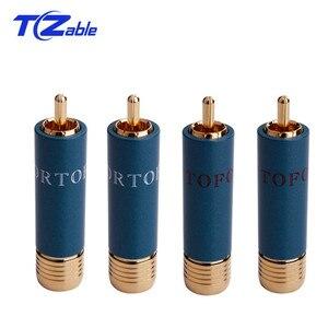 4 Uds altavoz de Audio RCA macho conector de Cable de terminales chapados en oro conector macho RCA Cable de cobre Terminal de altavoz adaptador Lotus azul