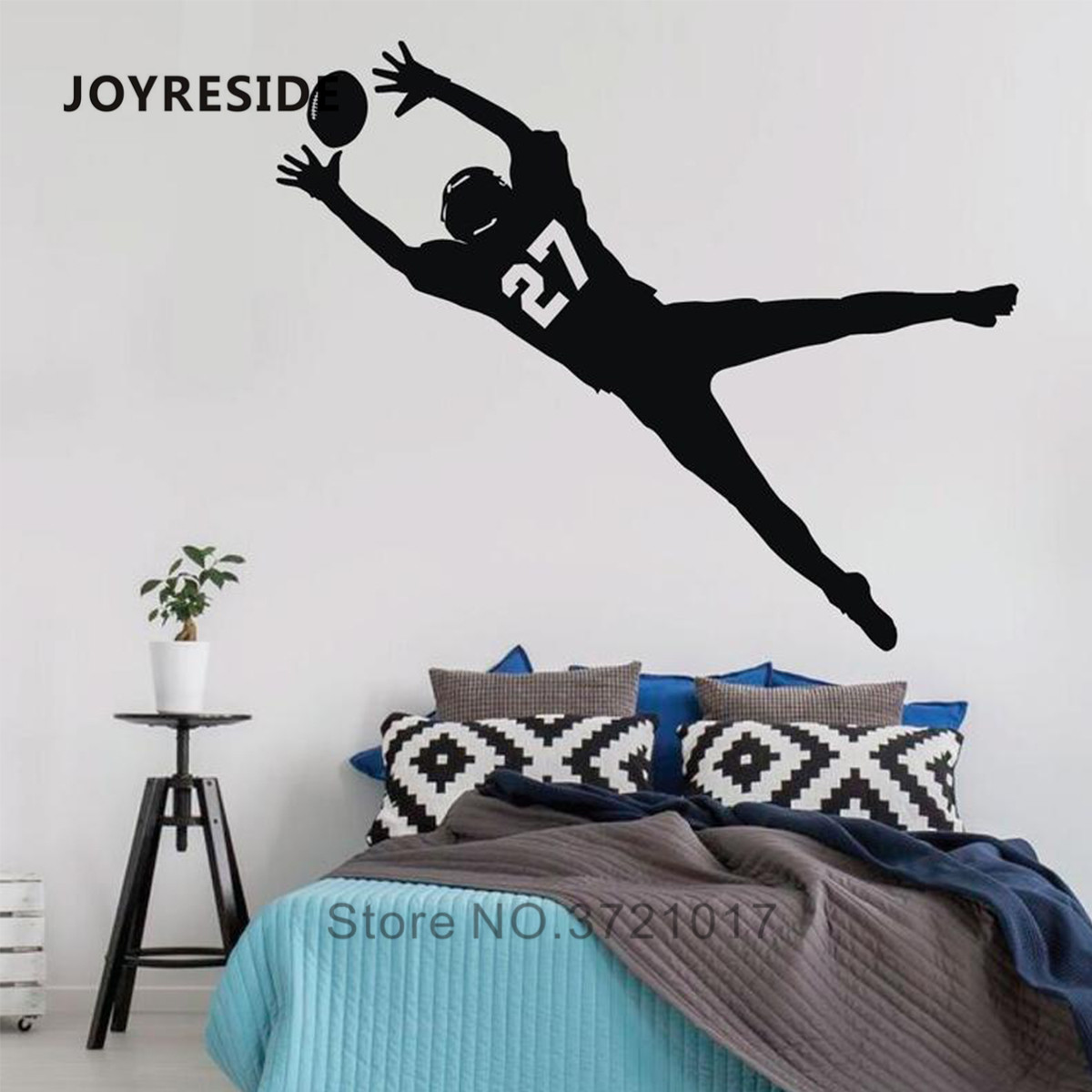 JOYRESIDE Custom Number Boys Soccer Wall Decal Home Kids Boy Bedroom Wall Decor Football Catching Player Wall Decals Vinyl WM352 image