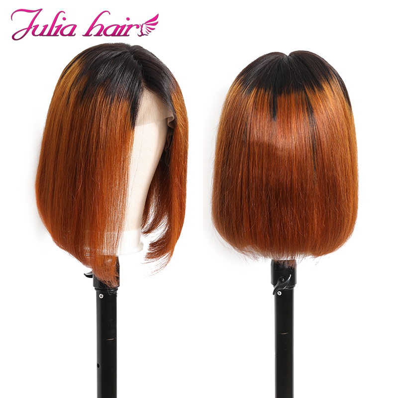 Ali Julia Hair 13*4 Lace Front Wigs Short Bob Wig Ombre Golden Color  Brazilian Straight Remy Human Hair 130% 150% 180% Density