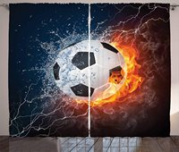 Sports Curtains Soccer Ball on Fire and Water Flame Splashing Thunder Strike Abstract Concept Art Living Room Bedroom Window