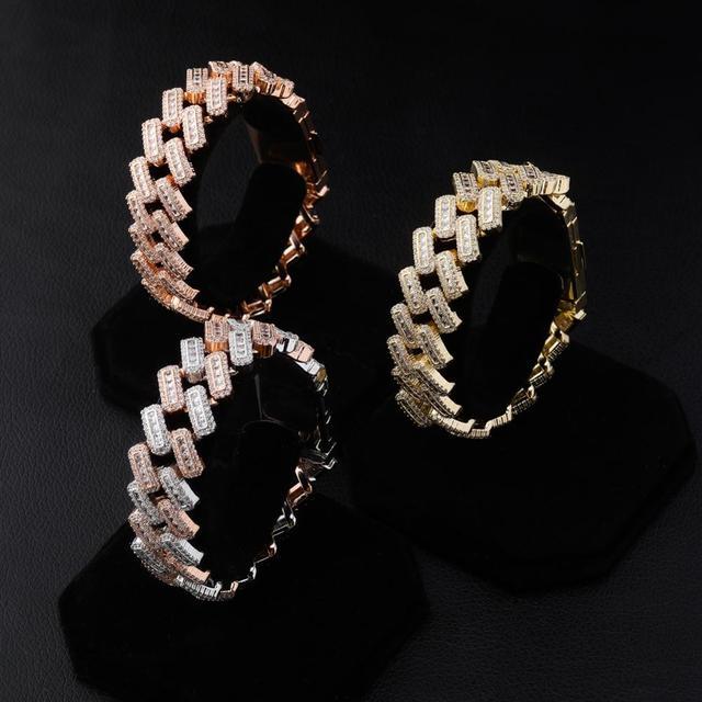 TOPGRILLZ 20mm Box buckle Clasp Baguette Zircon Prong Setting Cuban Bracelet Iced Out Cubic Zirconia Chain Hip Hop Rock Jewelry