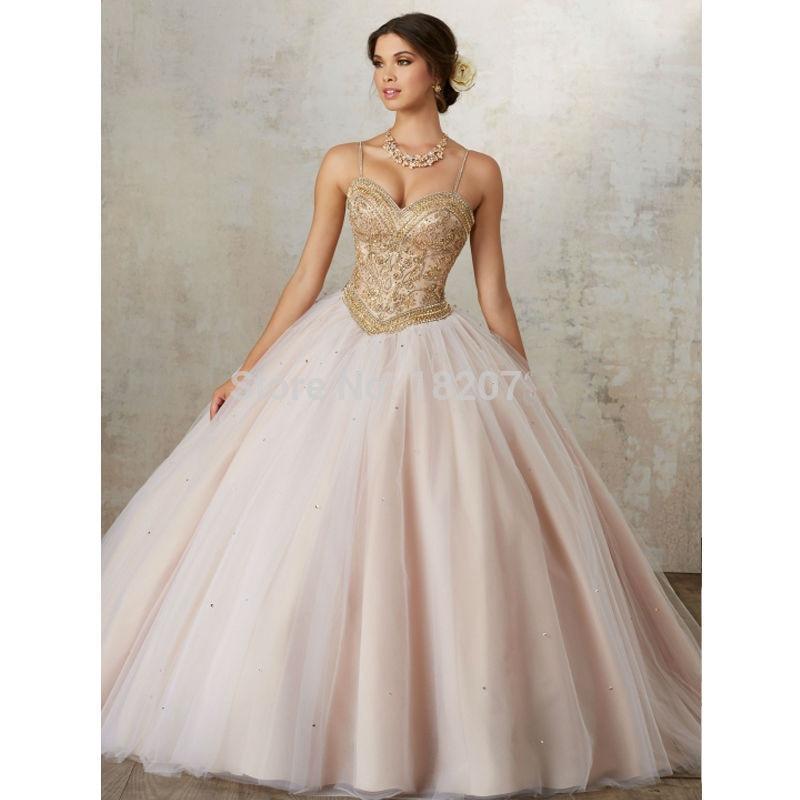 Robe de bal bouffante 2019 Quinceanera robe de bal bretelles Tulle perles cristaux pas cher doux 16 robes