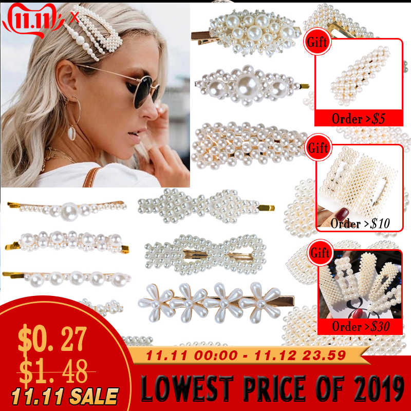 Big Pearl Hairpins Alloy BB Fashionable Hairgrip For Girl  Hair Clips For Women Hair Accessories Sweet And Hot Girl Accessories