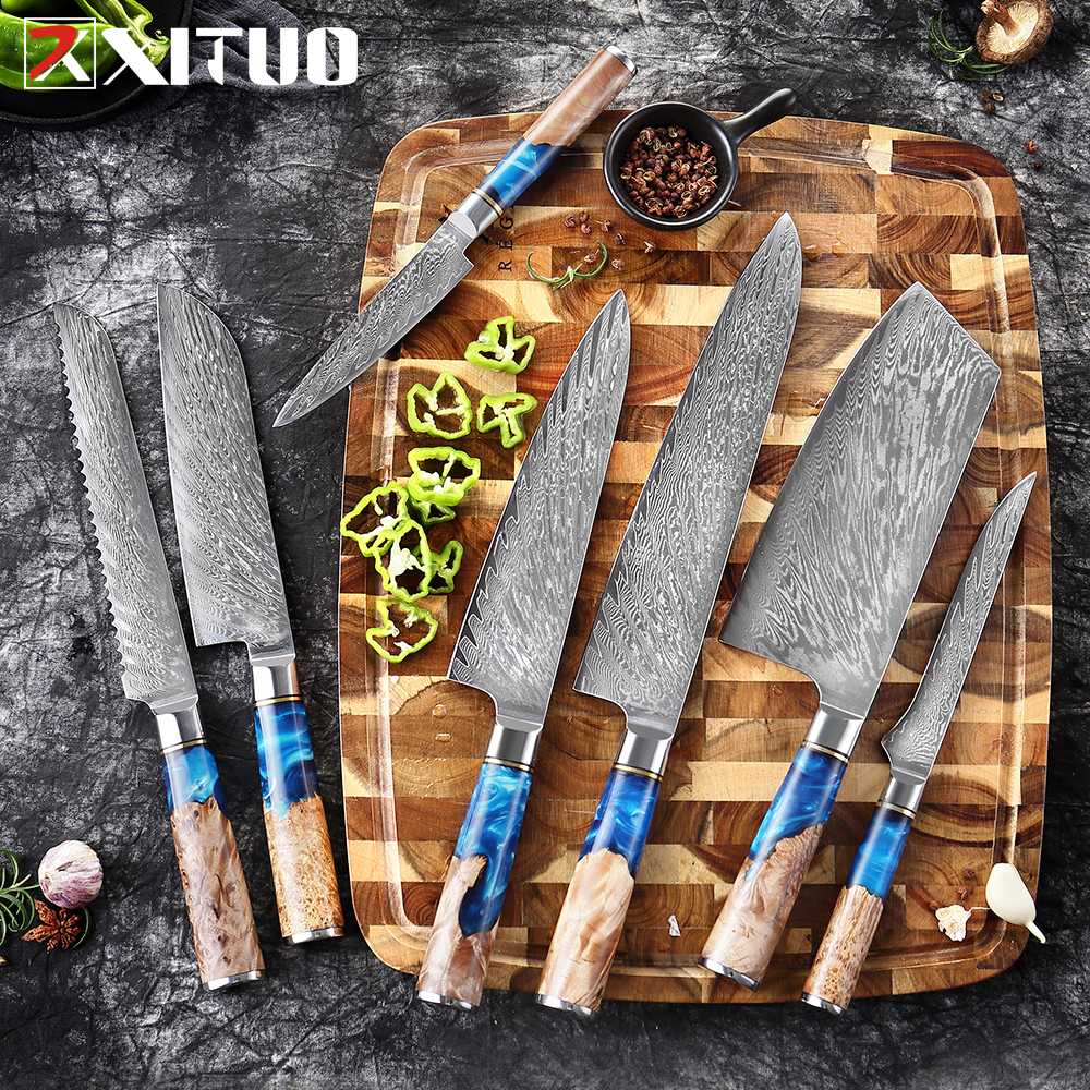 XITUO Kitchen Knives Set Damascus VG10 Steel Chef Knife Cleaver Paring Bread Knife Blue Resin and Color Wood Handle Cooking Tool|Kitchen Knives|   - AliExpress