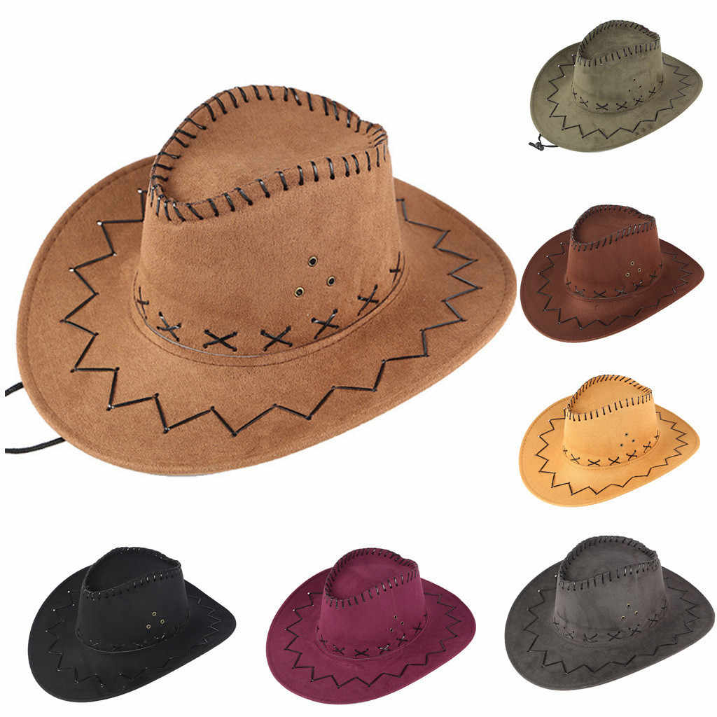 Western คาวบอย VINTAGE หมวกสำหรับสุภาพบุรุษ Cowgirl หมวกแจ๊ส Unisex ทุ่งหญ้า Sunshade Visor Suede Sombrero Hombre หมวก # D
