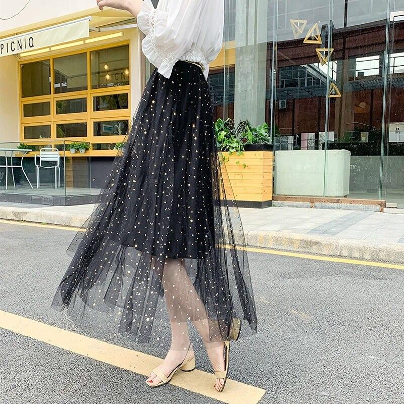 Spring Clothing Immortal Stars Sequin Gauze Skirt Women's Autumn And Winter Korean-style High-waisted Slimming Versatile Big Ski