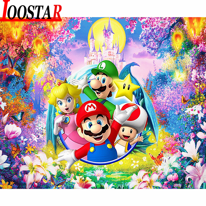 <font><b>5d</b></font> Diy Diamant Malerei Super Mario Cartoon <font><b>Anime</b></font> Diamant Stickerei Voll Platz Runde Diamant Mosaik Kreuz Stich Wohnkultur image