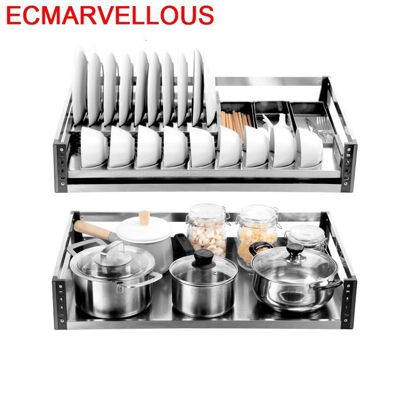 Para Armario De Cosina Mutfak Malzemeleri Cucina Stainless Steel Cuisine Cozinha Organizer Kitchen Cabinet Storage Basket