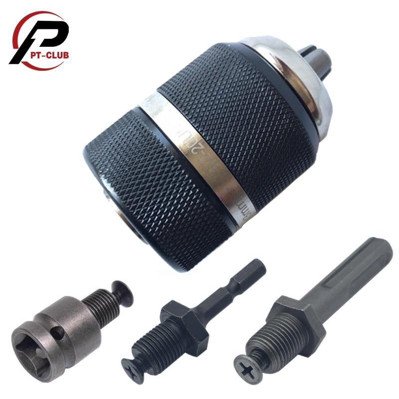 1/2-20UNF 1.5-13mm Keyless Metal Drill Chuck Quick Change Adapter SDS-Plus Shank 1/4