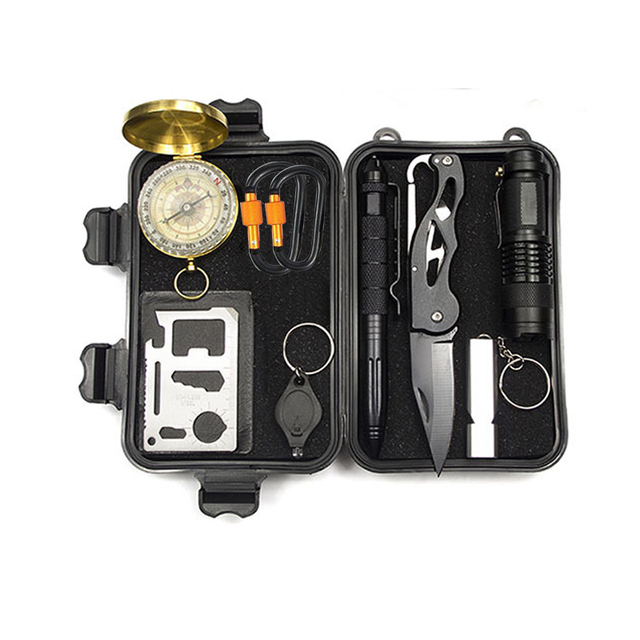 10 in 1Emergency Survival Bag Outdoor Travel Mini Camping Tool Multifunctional Survival Assistance Bag Compass Whistle Knife