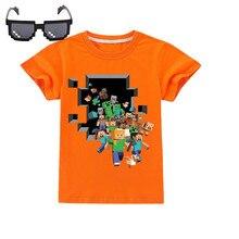 Детская одежда MINECRAFT, модная футболка с коротким рукавом, Рождественская рубашка, костюм для косплея Creeper, летние топы для мальчиков и девоче...
