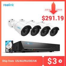 Reolink sistema de cámara de 4MP y 5MP NVR PoE y 4 cámaras IP PoE Bullet para exteriores, Kit de videovigilancia HD de 2TB HDD RLK8 410B4