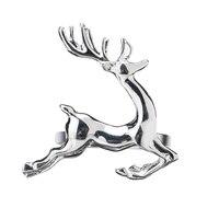 Christmas Deer Napkin Ring 12Pcs / Circle Silver Napkin Buckle Hotel Wedding Table Decoration