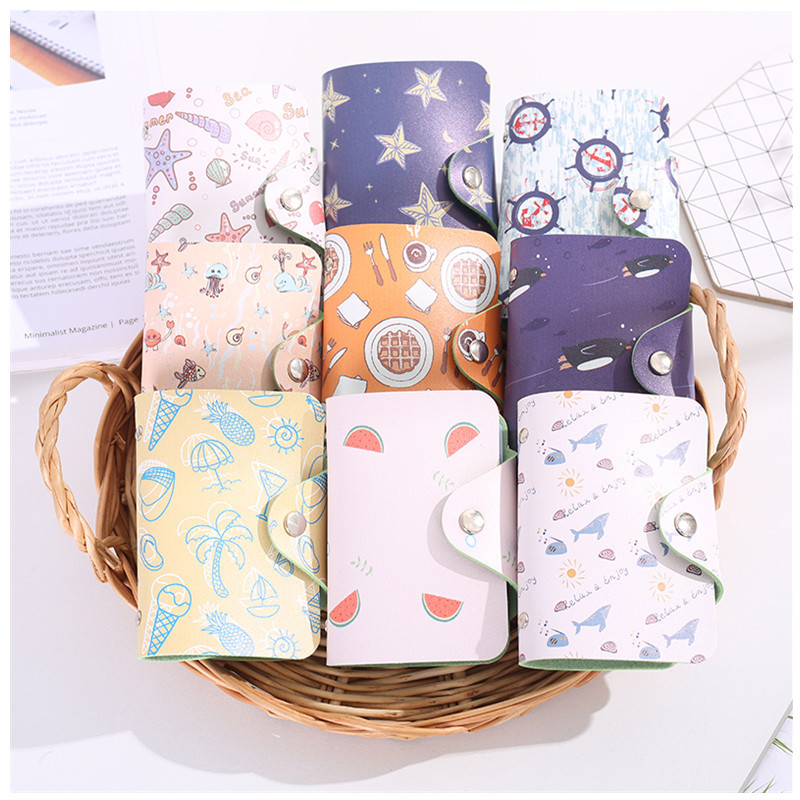 Women's Card Case Wallet Leather Visiting Handbags Cartoon Animal Pattern Credit Card Holder Female Business Package