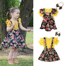 Toddler Baby Girls Sisters Short Sleeve Ruffle Top Shirt Floral Strap Romper Dress Summer Outfit Set(China)
