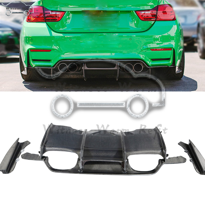 For BMW F80 M3 F82 M4 Car Styling Carbon Fiber Rear Bumper Exhaust Diffuser Lip Spoiler image
