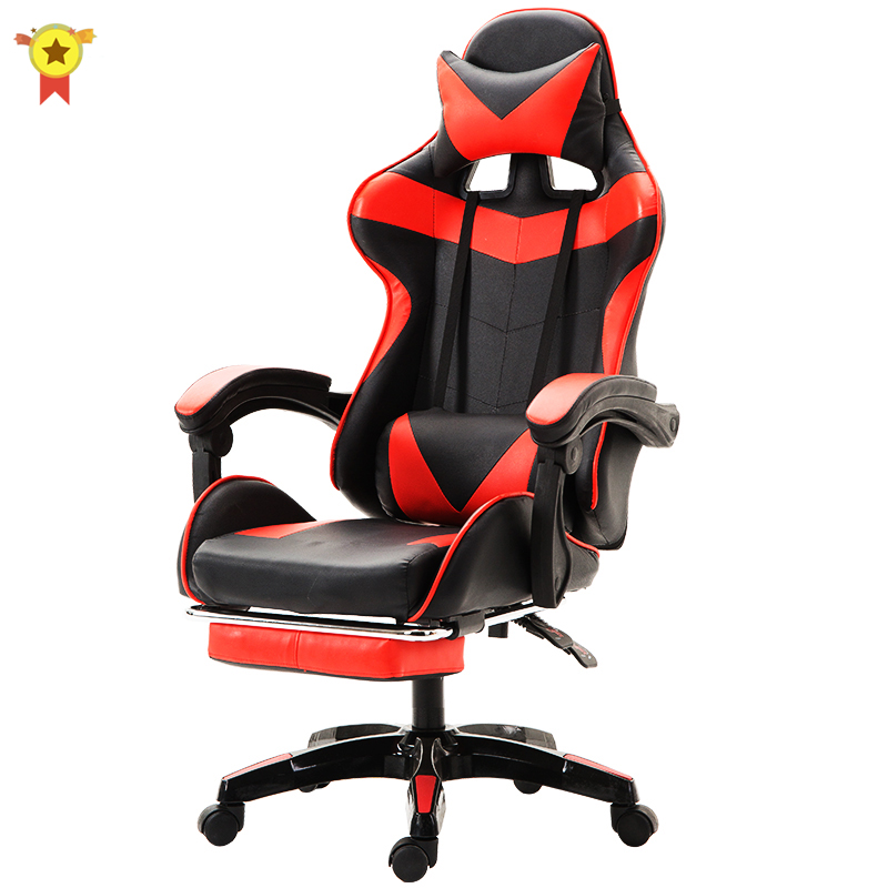 Wcg Gaming Chair PVC Household Armchair Ergonomic Computer Chair Office Chairs Lift and Swivel Function Adjustable Footrest 1