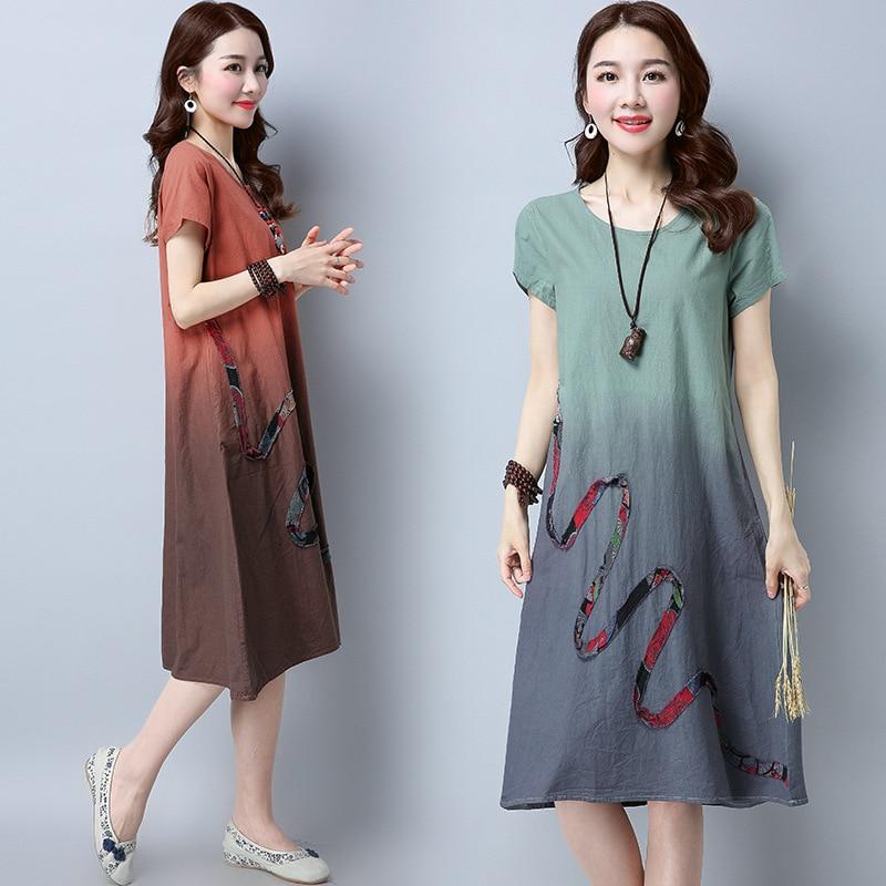 Fy768 Cotton Linen Dress Women's Summer Short Sleeve 2019 New Style Large Size Loose-Fit A- Line Skirt Casual Medium-length Skir
