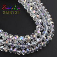 Rondelles en cristal AB en verre transparent, vente en gros, perles d'espacement, 4 6 8 10 12 14mm, bricolage, Bracelet, collier, fabrication de bijoux, couture