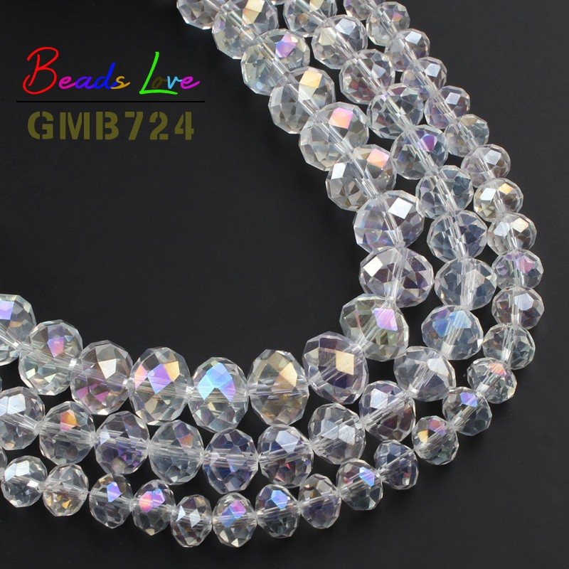Wholesale Faceted AB Clear Glass Crystal Rondelle Spacer Beads <font><b>4</b></font> <font><b>6</b></font> 8 10 <font><b>12</b></font> 14mm DIY Bracelet Necklace Jewelry Making Needlework image