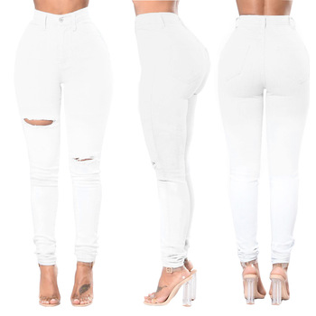 цена на Ripped Jeans for Women Sexy High Waisted Skinny Hole Jeans White Stretch Slim Pants Ankle Length Pencil Pants Plus Size