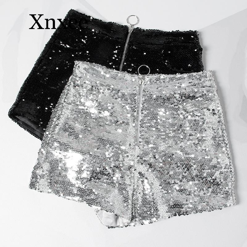 Bling Sexy Women Sequin Shorts High Waist O-Ring Zip Bodycon Shorts Skinny Party Club Festival Raves Pole Dance Shorts