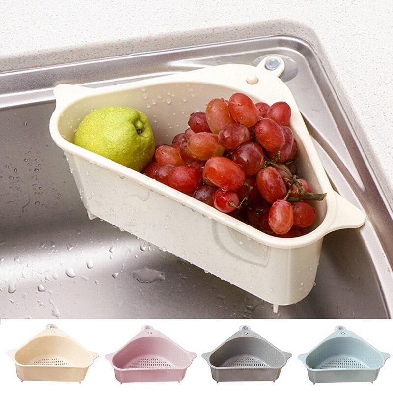 Kitchen Triangular Sink Strainer Drain Vegetable Fruite Drainer Basket Suction Cup Sponge Holder Storage Rack Sink Filter Shelf