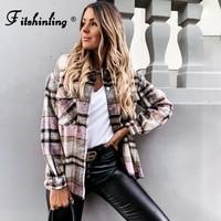 Fitshinling 2021 nuove camicette Femme tasca bottone camicia Vintage sottile scacchiera femminile Plaid moda top 2021 autunno Blusas Mujer