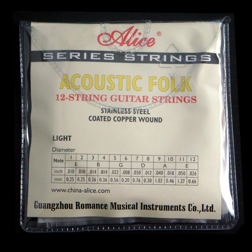 Copper Wound 12 String Acoustic Folk Guitar Strings Set, E/B/G/D/A/E