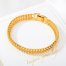 24K Gold Plated Copper Alloy Jewelry 2021 Trend Fashion Retro Style All-Match Classic Ladies Bracelet For Women 19CM 12G