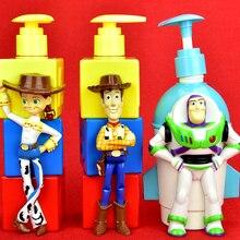 Juguete historia Woody Buzz Lightyear Jessie creativo dibujos animados botella de champú botella de ABS figura de acción modelo coleccionabke juguete caja de 350ML