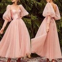 New Arrival Lace Tulle long sleeve Prom dresses 2020 Ankle Length Short Prom dress vestidos de fiesta largos elegantes de gala