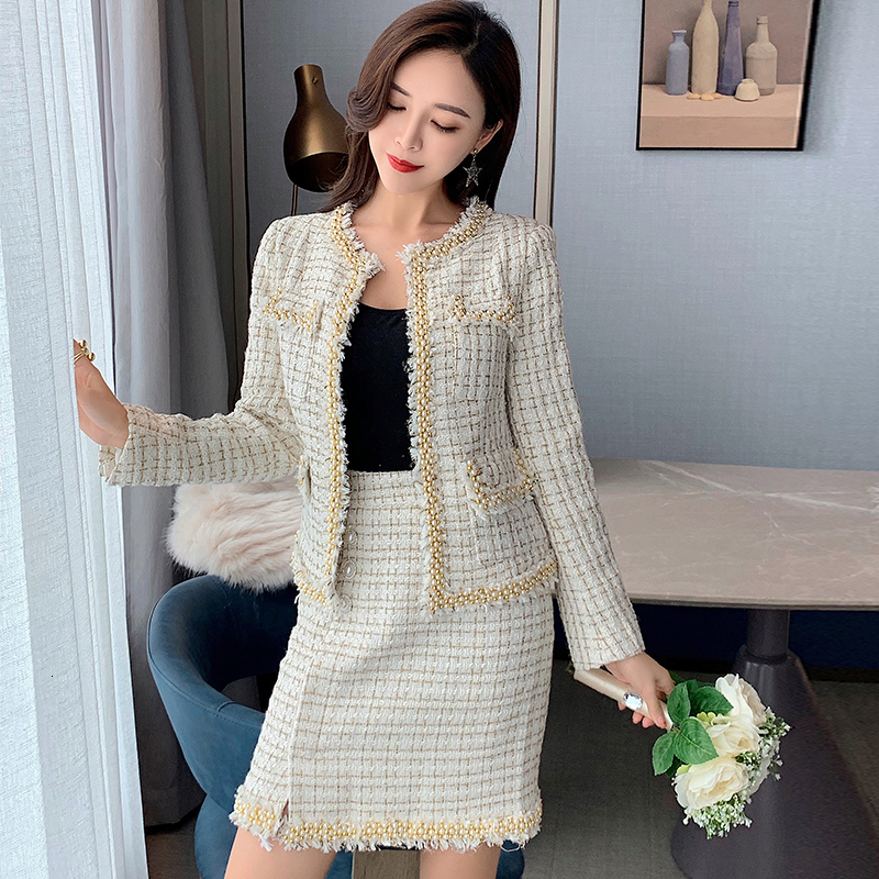 High Quality Women 2 Piece Set Autumn Winter Tweed Office Ladies Runway Designer Jacket Coat Tops Fringe A Line Mini Skirt Suits