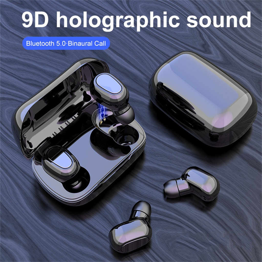 L21 Benar HI FI Wireless Bluetooth 5.0 Headset Sport Headset Kembar 3D Stereo Headphone Portabel Pengisian Daya Magnetik Speaker Mini Box