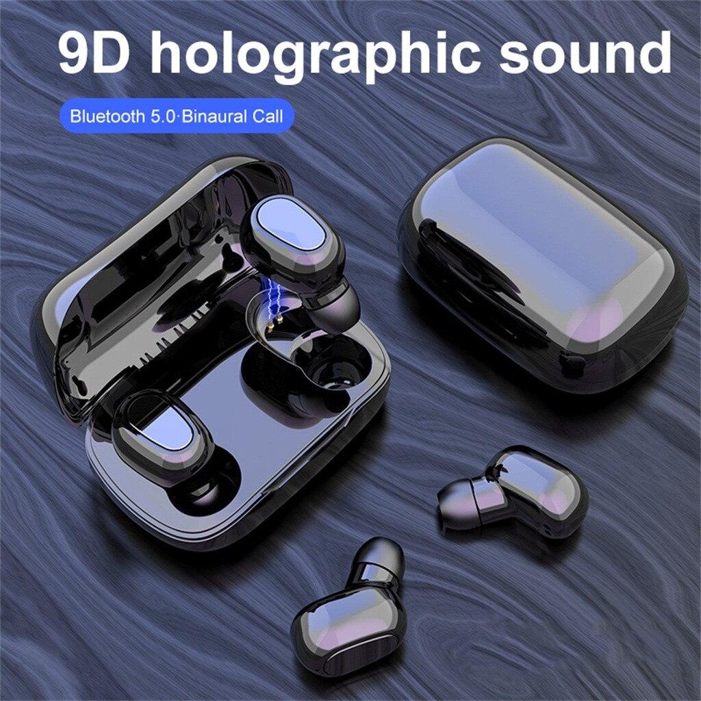 L21 True HIFI Wireless Bluetooth 5 0 Headset Sport Twins Earphone 3D Stereo Headphone Portable Magnetic Charging Box Earbuds