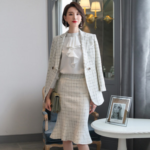 Women's suit autumn new temperament Slim waist double-breasted professional dress fishtail skirt suit wild women's twopiece suit