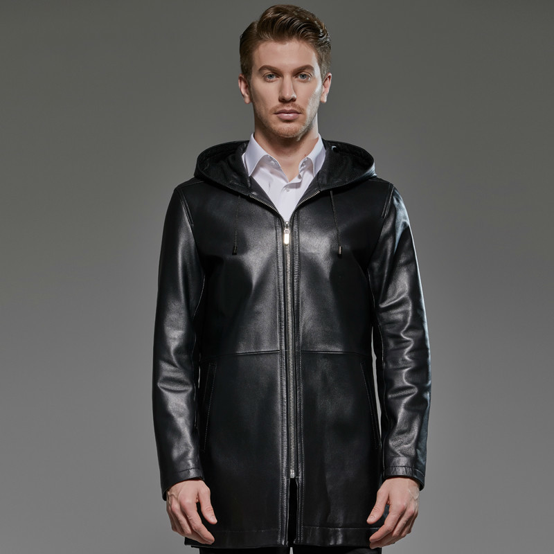 2020 Plus Size Men's Genuine Leather Jacket Hooded 100% Sheepskin Coat Long Windbreaker Chaqueta Cuero Hombre 181719 KJ2291