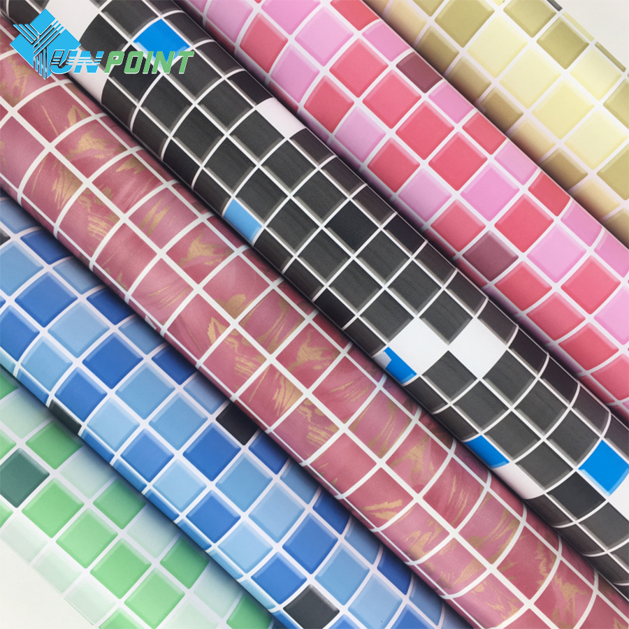 Thick Waterproof Self-adhesive Wallpaper Kitchen Oil-proof Bathroom Toilet Wall Papers PVC Mosaic Imitation Tile Pattern Sticker