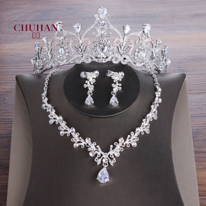 CHUHAN Korean Bride Zircon Crown Diamond Bridal Necklace Earrings Three Piece Dress Set Accessories Wedding Headdress C361