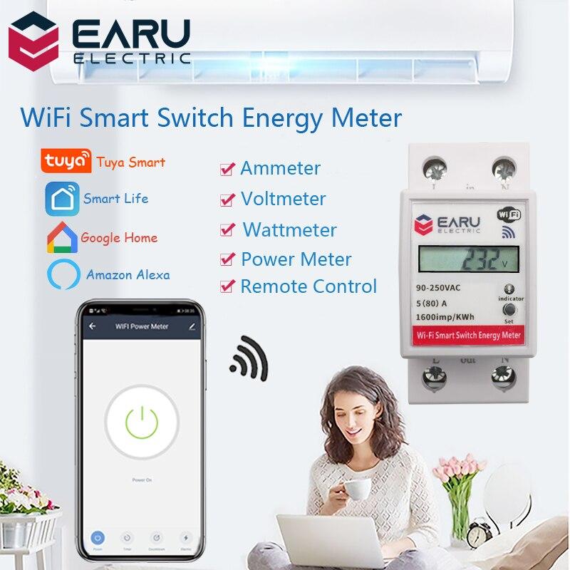 WiFi умный измеритель мощности потребление энергии кВтч вольтметр 90-250 В din-рейка дистанционное управление переключатель Smart Life Tuya Alexa Google Home