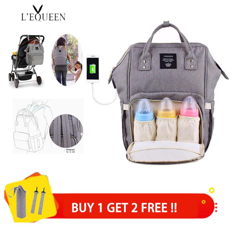Lequeen USB сумки для подгузников большая сумка для подгузников обновленный модный дорожный рюкзак водонепроницаемая сумка для беременных сумк...